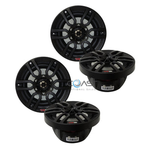 "2X Hydro NXL6BK 6.5"" Black 600W 2-Way Marine ATV Boat Speaker + Integrated RGB"