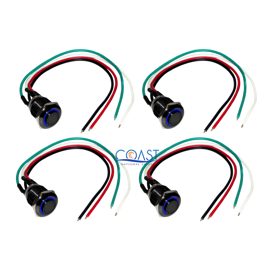 4X 12mm Elevated Black Car Button Blue Angel Eye LED Momentary Switch Harness