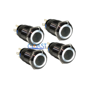 4X Durable 19mm Car Push Black Momentary Button Case White LED Angel Eye Switch