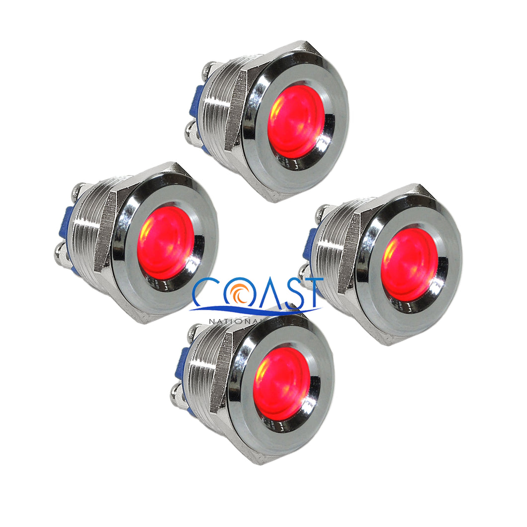 4X Durable 12V 16mm Stainless Steel Car Red LED Indicator With Screw Terminal
