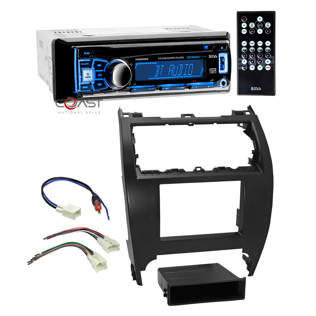 Boss Car Radio Bluetooth Double Din Dash Kit Harness for 12-14 Toyota Camry