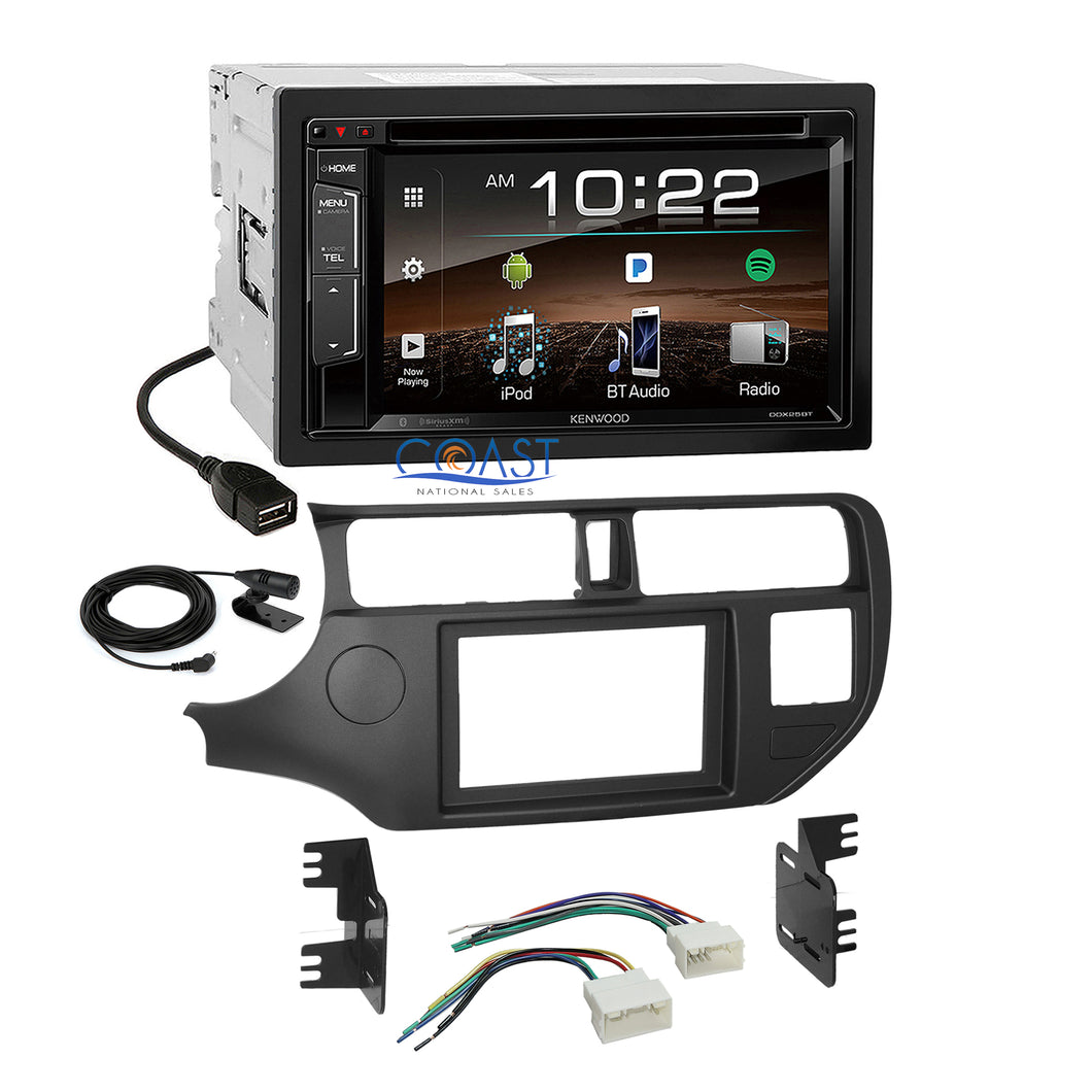 Kenwood DVD Sirius Bluetooth Stereo 2 Din Dash Kit Harness for 2012-up Kia Rio