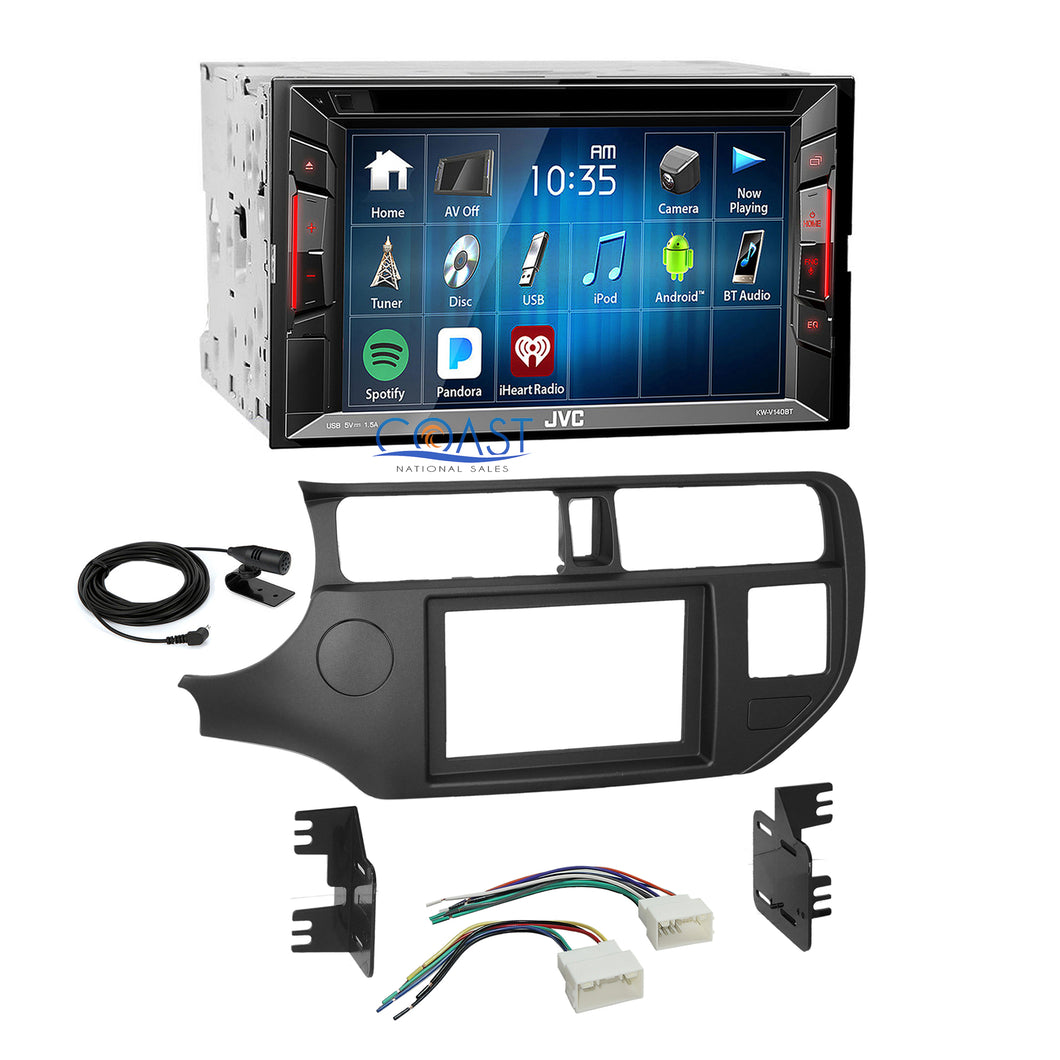 JVC 2018 DVD USB Bluetooth Stereo 2 Din Dash Kit Harness for 2012-up Kia Rio
