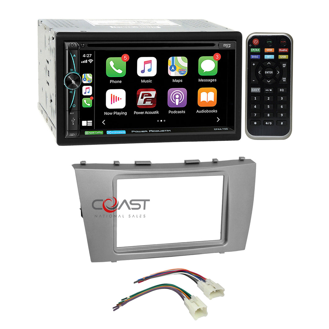 Power Acoustik DVD USB Carplay Stereo Dash Kit Harness for 07-11 Toyota Camry