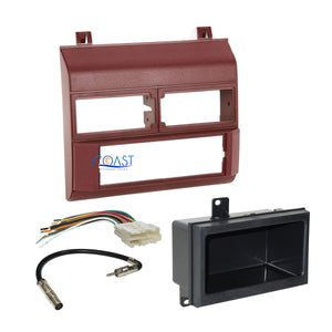 Car Radio Stereo Burgundy Dash Kit Harness Antenna for 1988-94 Chevy GMC Trucks