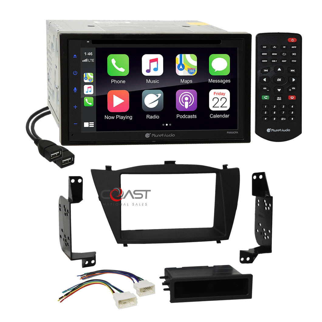 Planet Audio DVD USB Carplay Stereo Dash Kit Harness for 2010+ Hyundai Tucson