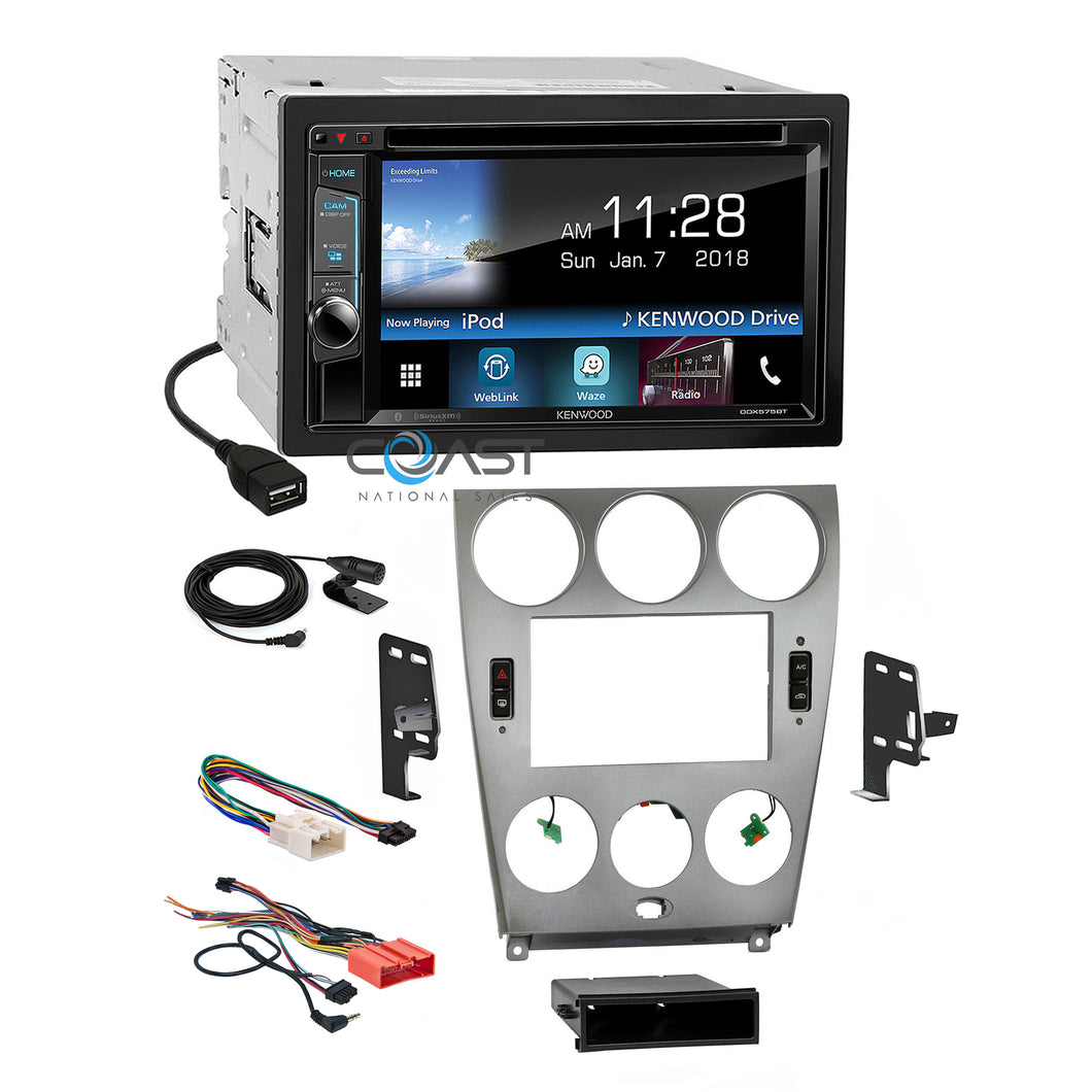 Kenwood Sirius WebLink Waze Stereo Silver Dash Kit Harness for 2003-05 Mazda 6