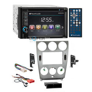 Planet Audio DVD USB Bluetooth Stereo Silver Dash Kit Harness for 03-05 Mazda 6