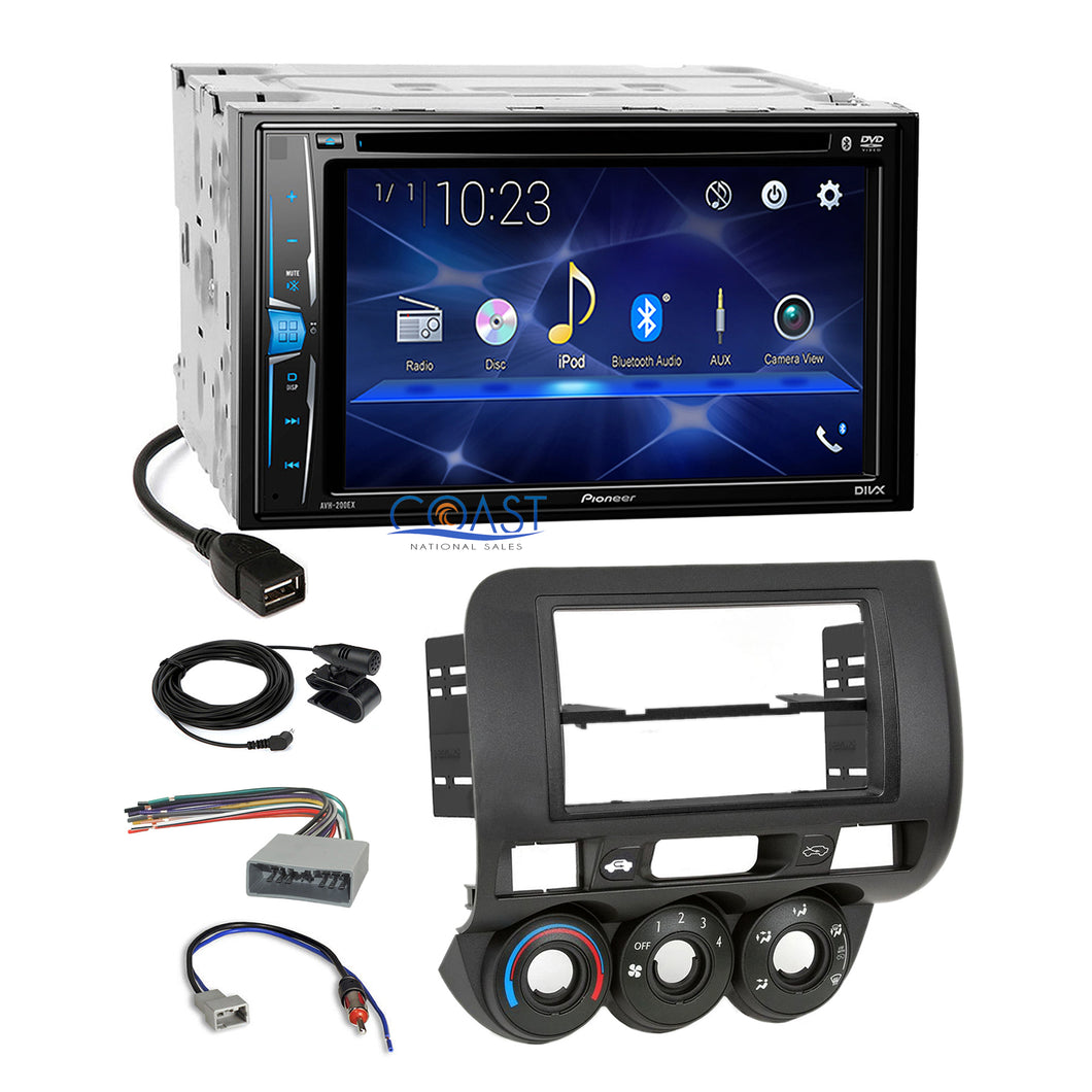 Pioneer 2018 DVD Bluetooth 2 Din Stereo Dash Kit Harness for 2007-08 Honda Fit