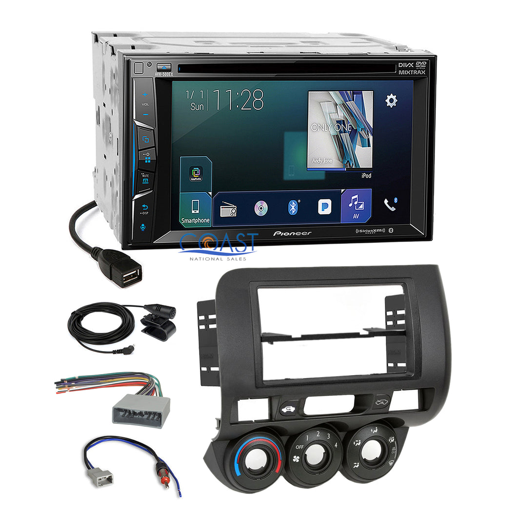 Pioneer DVD Sirius AppRadio 2Din Stereo Dash Kit Harness for 2007-08 Honda Fit