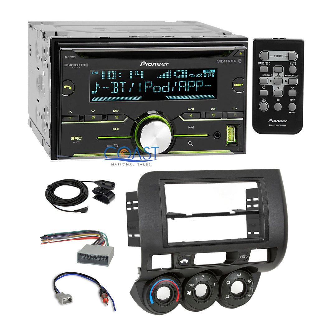 Pioneer USB Sirius Bluetooth 2Din Stereo Dash Kit Harness for 2007-08 Honda Fit