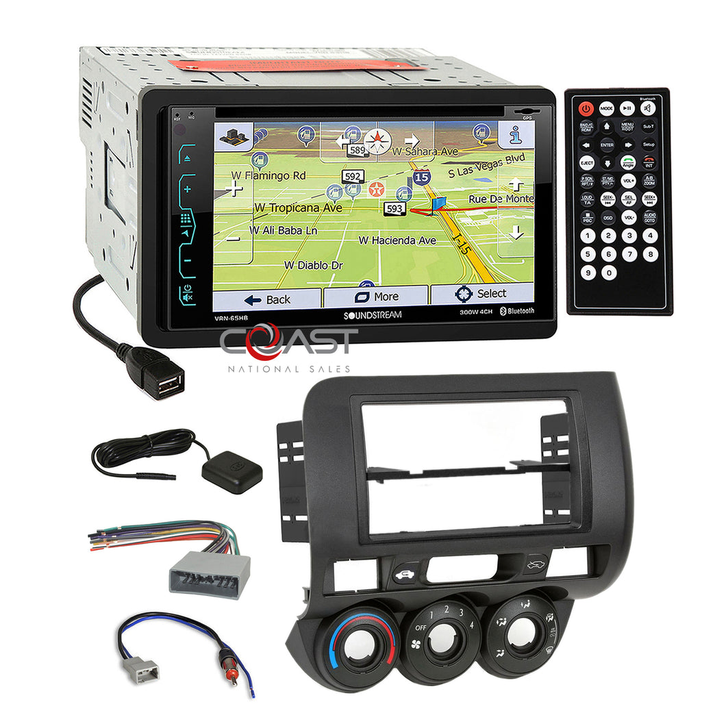 Soundstream DVD USB GPS Bluetooth Stereo Dash Kit Harness for 2007-08 Honda Fit