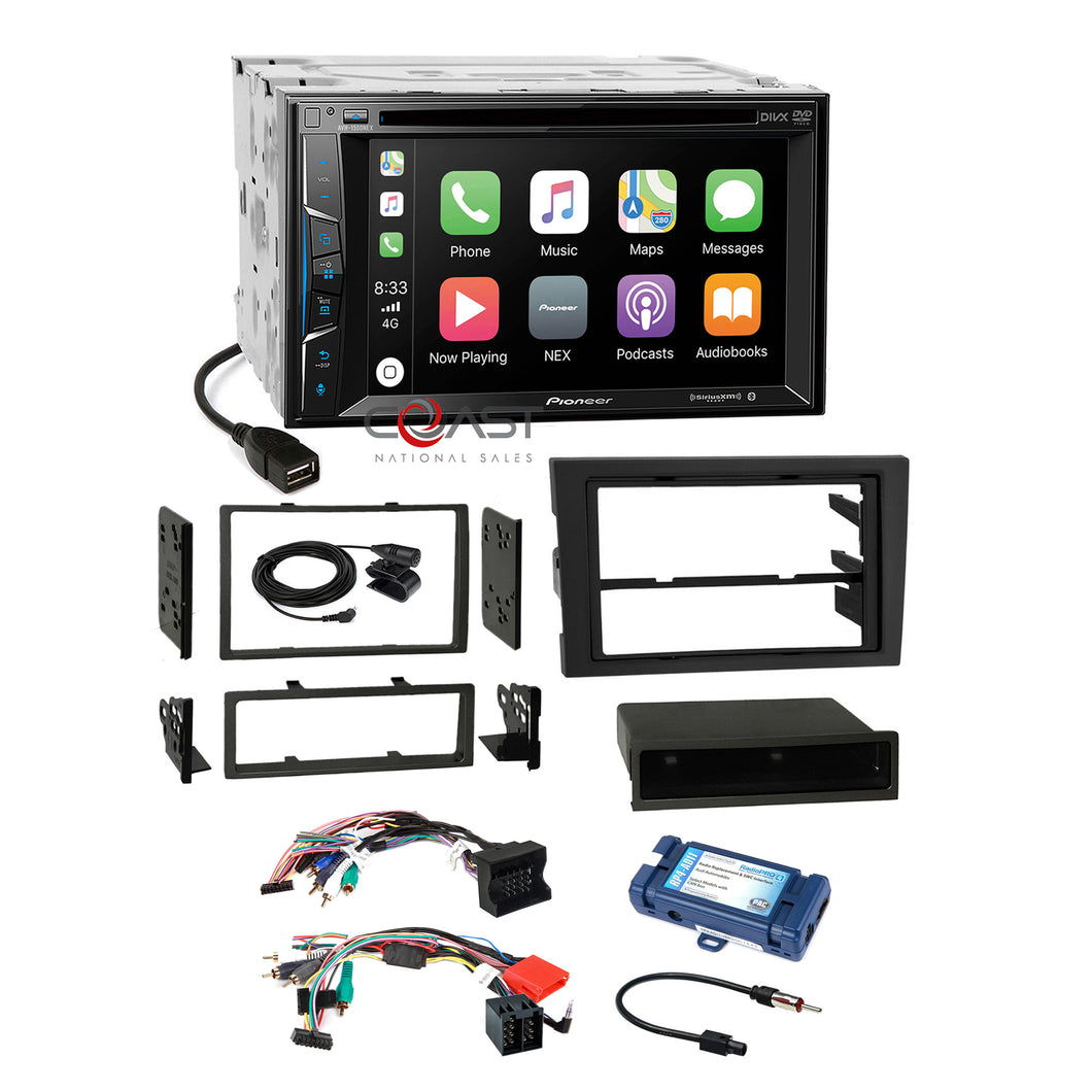 Pioneer DVD Sirius Carplay Stereo Dash Kit Amp SWC Harness for 2004-08 Audi A4