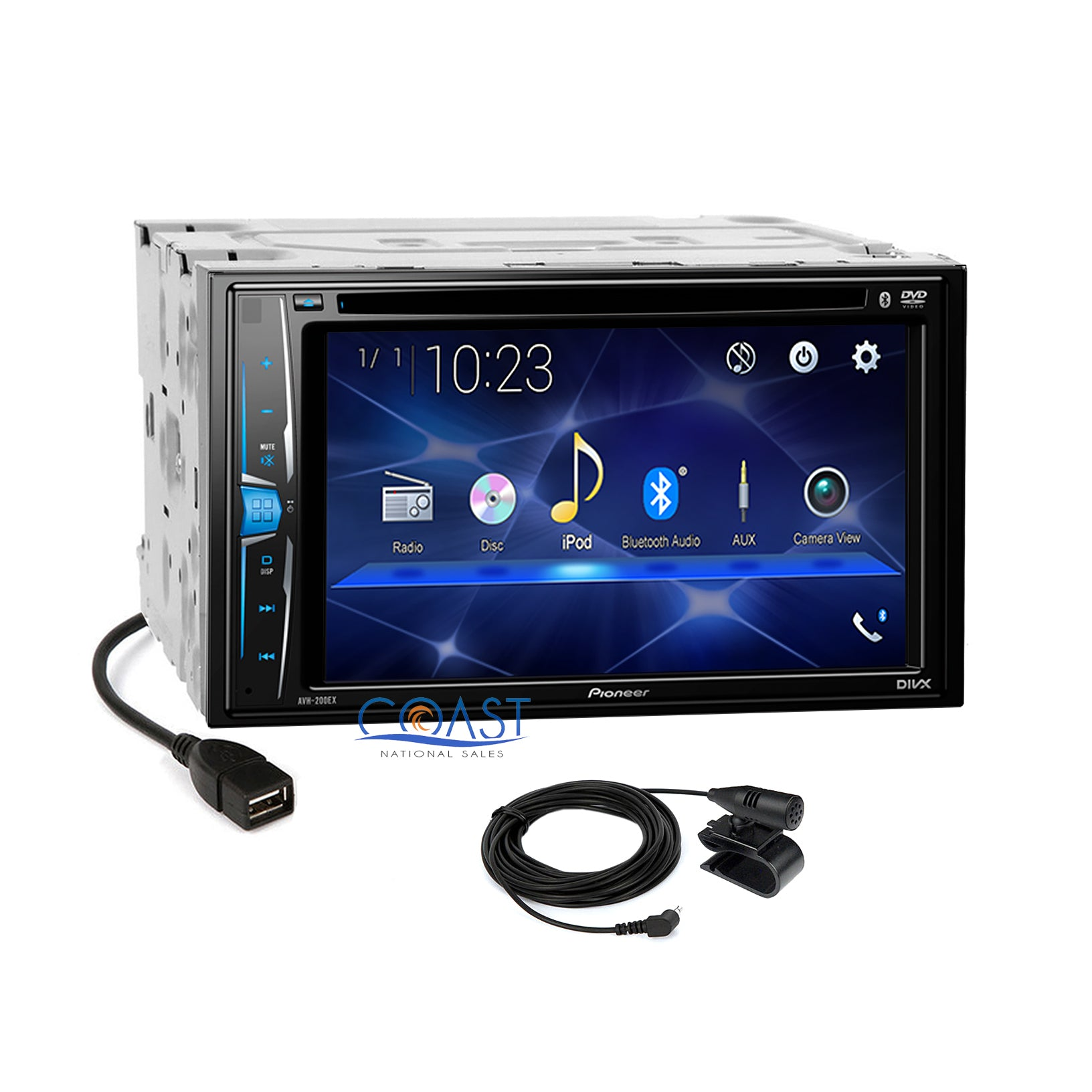Pioneer 2018 DVD USB Stereo Silver Dash Kit Harness for