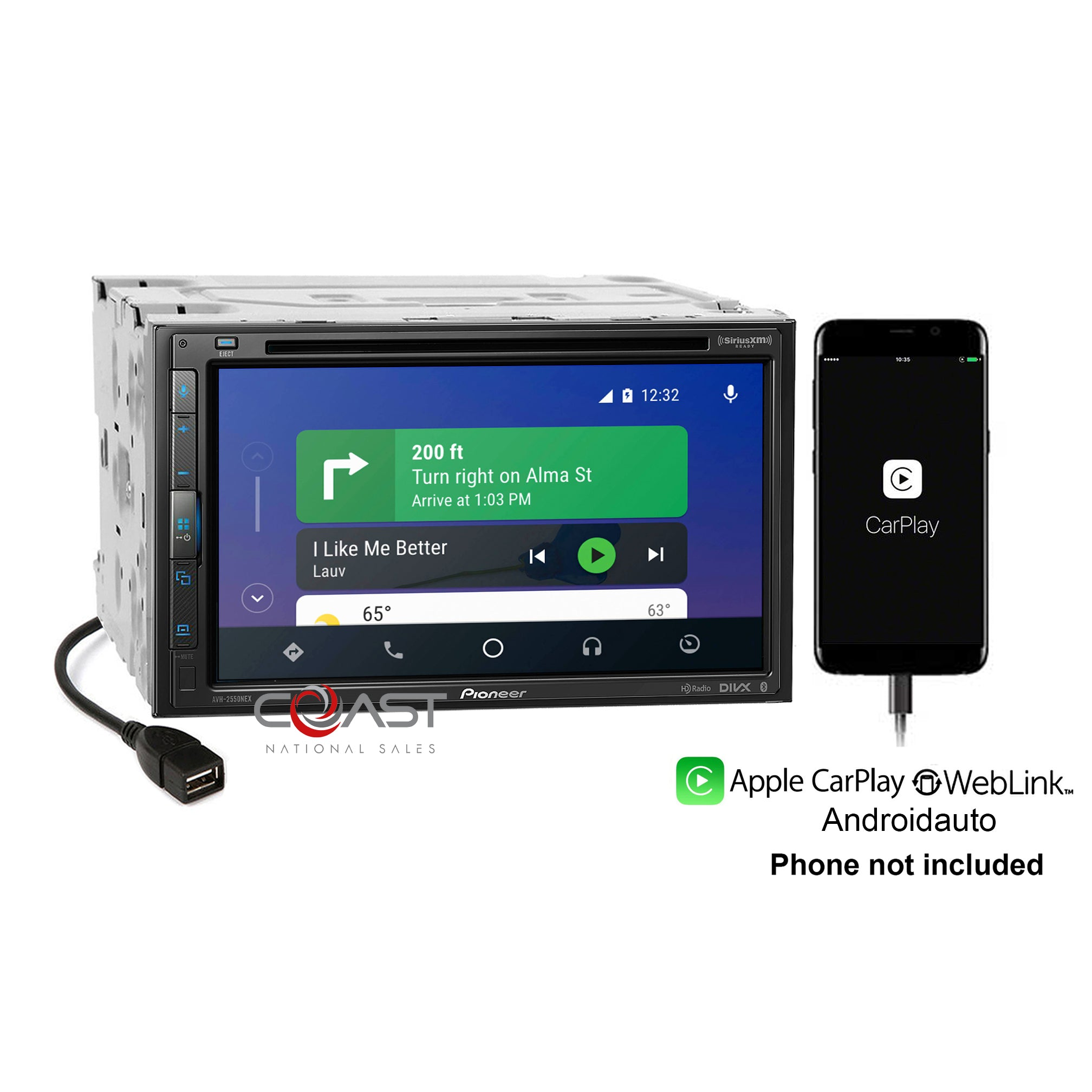 Pioneer DVD Waze Carplay Sirius Android Web Link Bluetooth