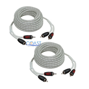 2X Triple Shielded 18 Ft Platinum RCA Male to Male Home Car Audio Cable B18TPR
