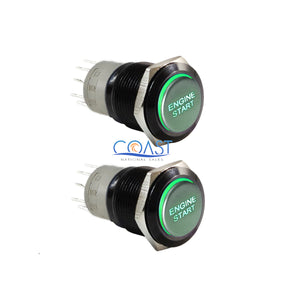 2X Durable 12V Green LED 16mm Black Momentary Engine Start Push Button Switch