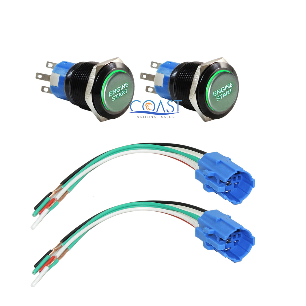 2X Durable Green LED 19mm Momentary Engine Start Push Button Switches & Plugs