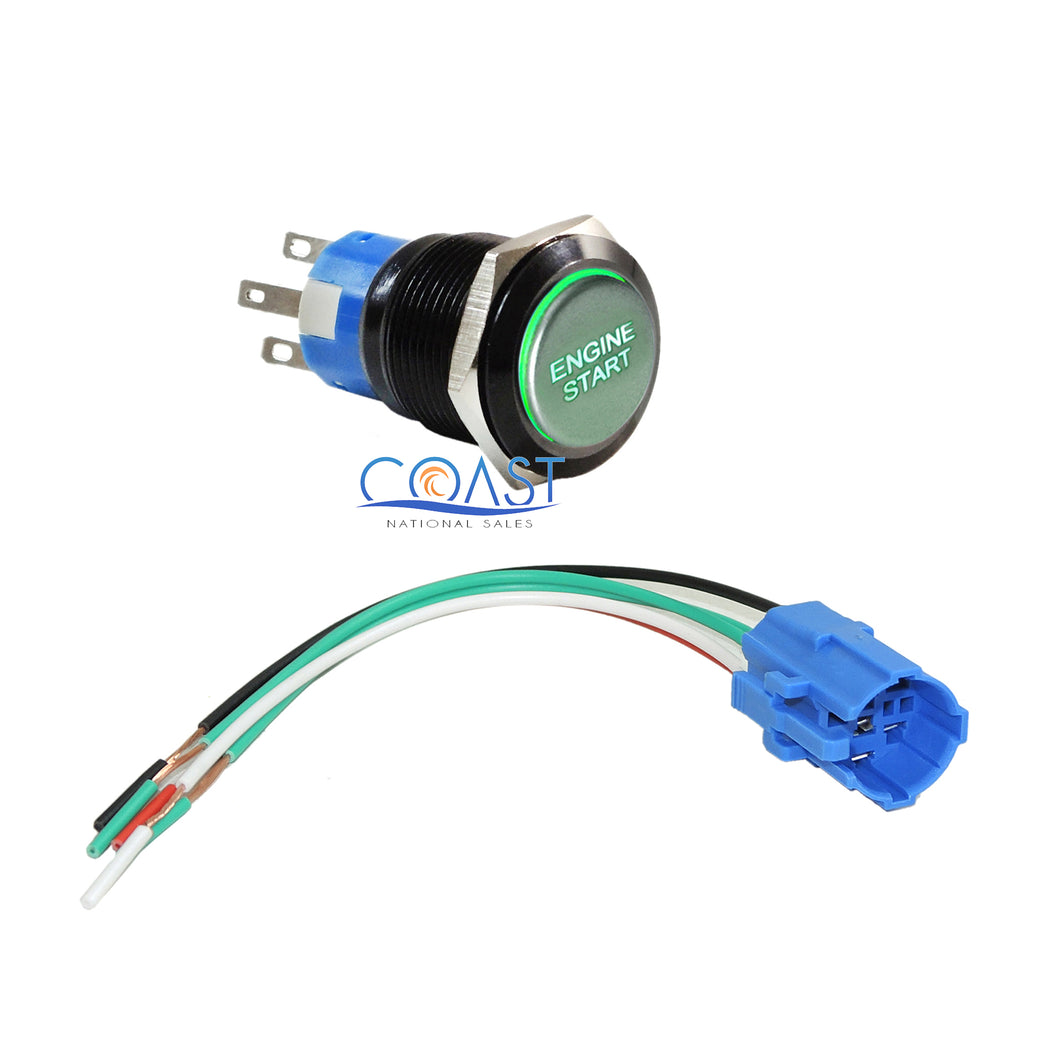 Durable 12V Red LED 19mm Green Momentary Engine Start Push Button Switch & Plug