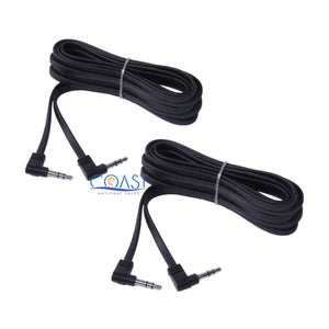 2X Stereo Audio Black Flat Headphone Cable Extension 3.5mm Male to Male 12ft