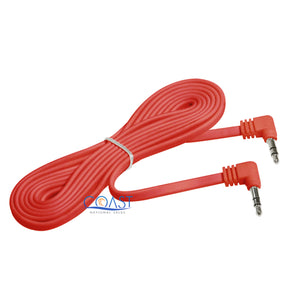 Stereo Audio Red Flat Headphone Cable Extension 3.5mm Male to Male - 6 ft