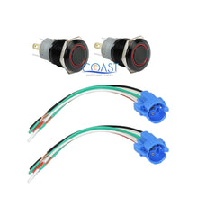 Load image into Gallery viewer, 2X Durable 12V 16mm Car Push Button Red Angel Eye LED Latching Switch & Plug
