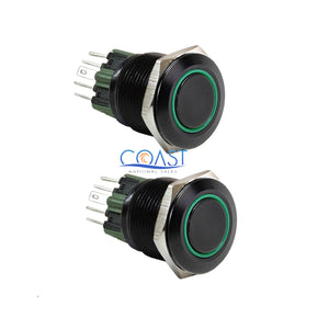 2X Durable 12V 25mm Car Push Button Green Angel Eye LED Momentary Light Switch
