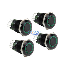 Load image into Gallery viewer, 4X Durable 12V 25mm Car Push Button Green Angel Eye LED Momentary Light Switch
