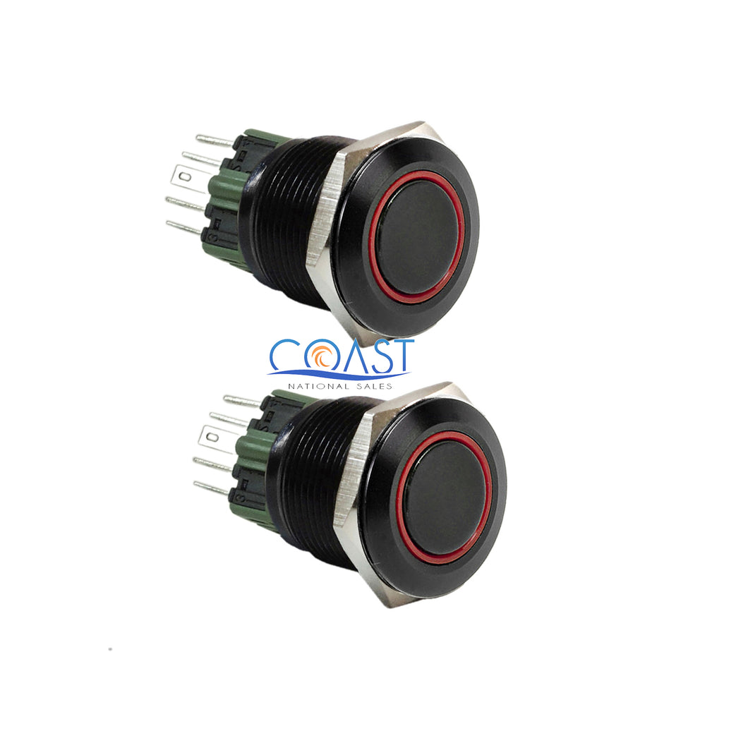 2X Durable 12V 25mm Car Push Button Red Angel Eye LED Latching Light Switch