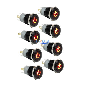 8X Durable Car Home 12v 16mm Push Button Red Led Latching On/Off Power Switch