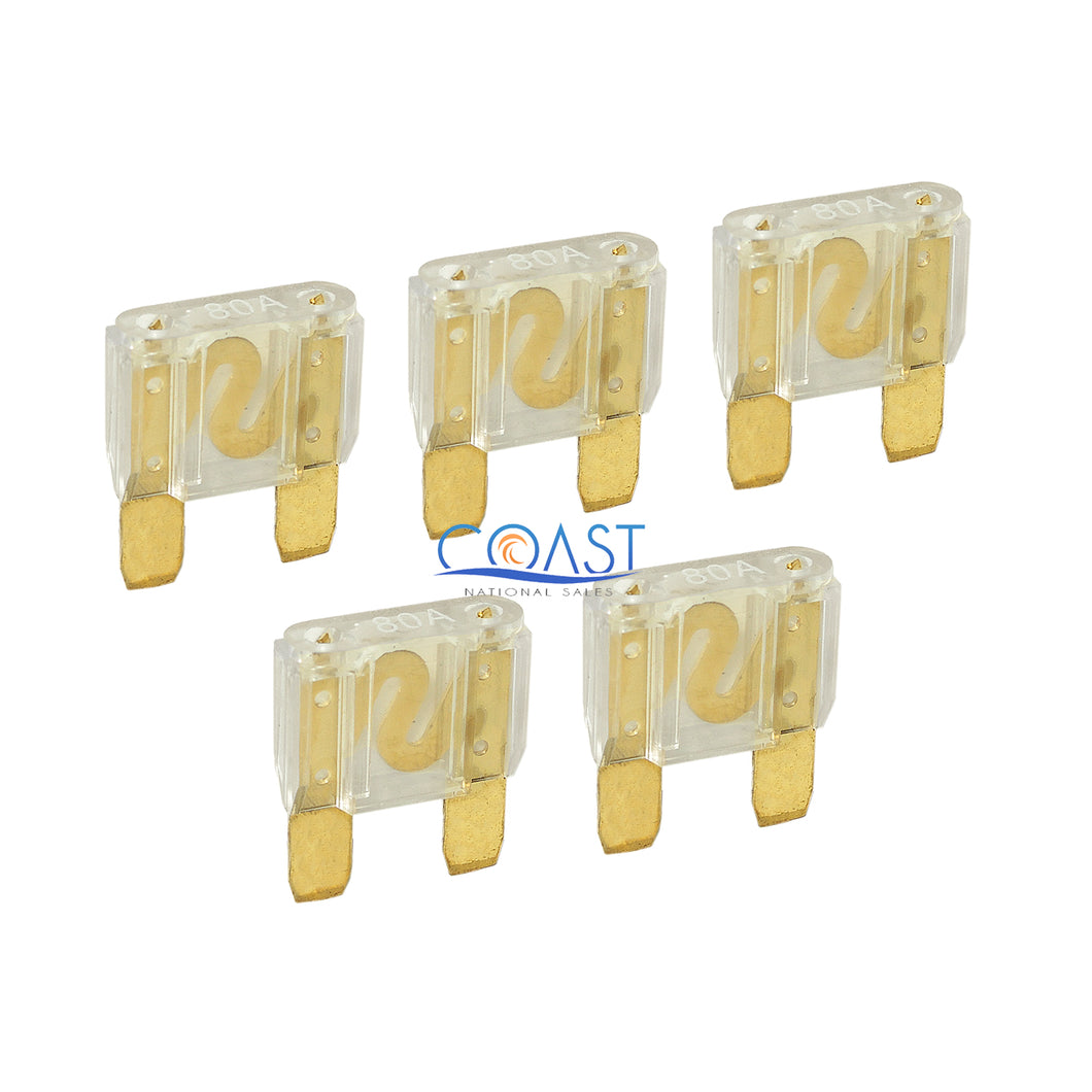 5X High Quality Bullz Audio Car Boat Auto Audio 80 AMP Maxi Fuses - Gold