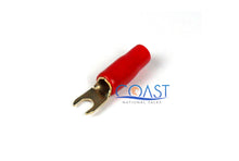 Load image into Gallery viewer, Gold Plated Spade Terminal 4 Gauge w/ Red Sleeve BS4R - 10 pcs