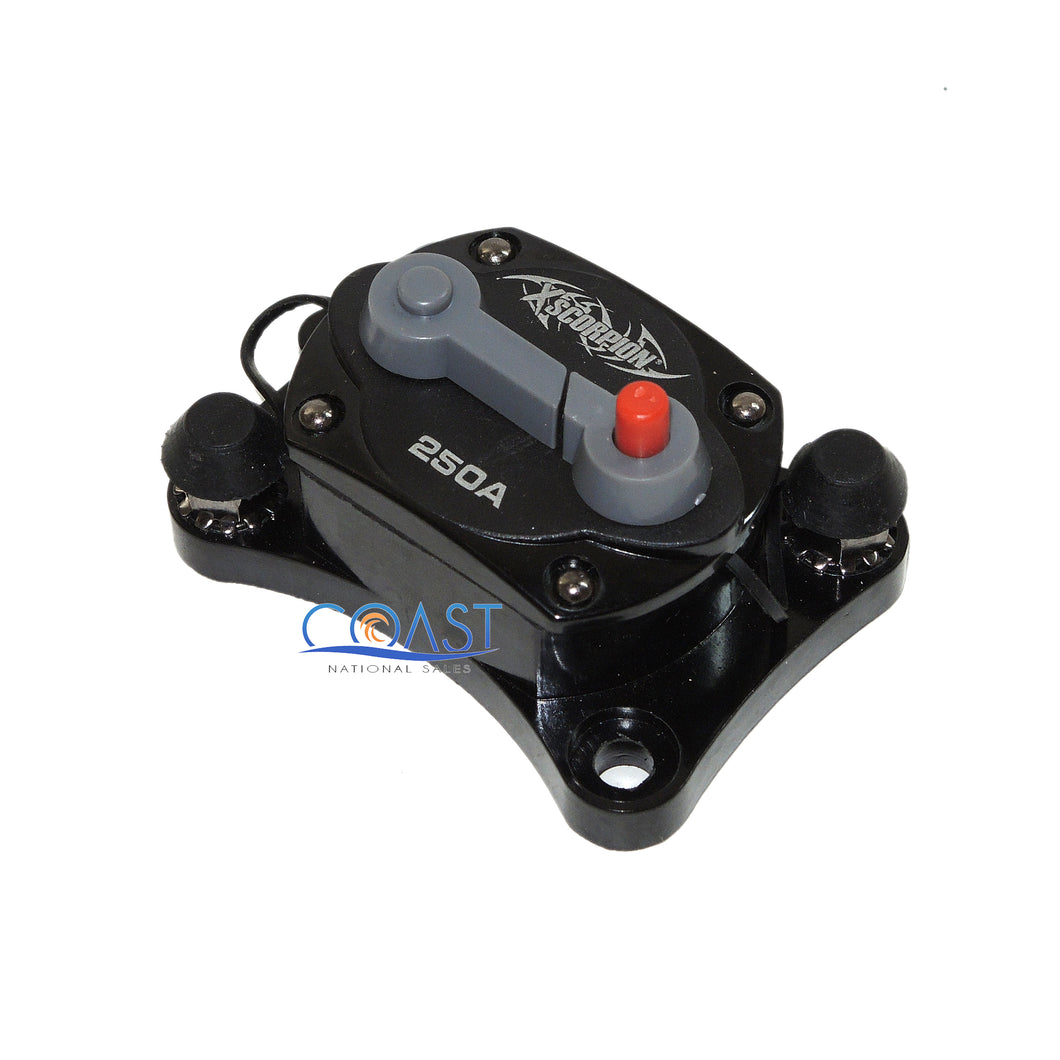 Car Stereo Inline 12V 250A Power Circuit Breaker w/Manual Reset & LED Indicator