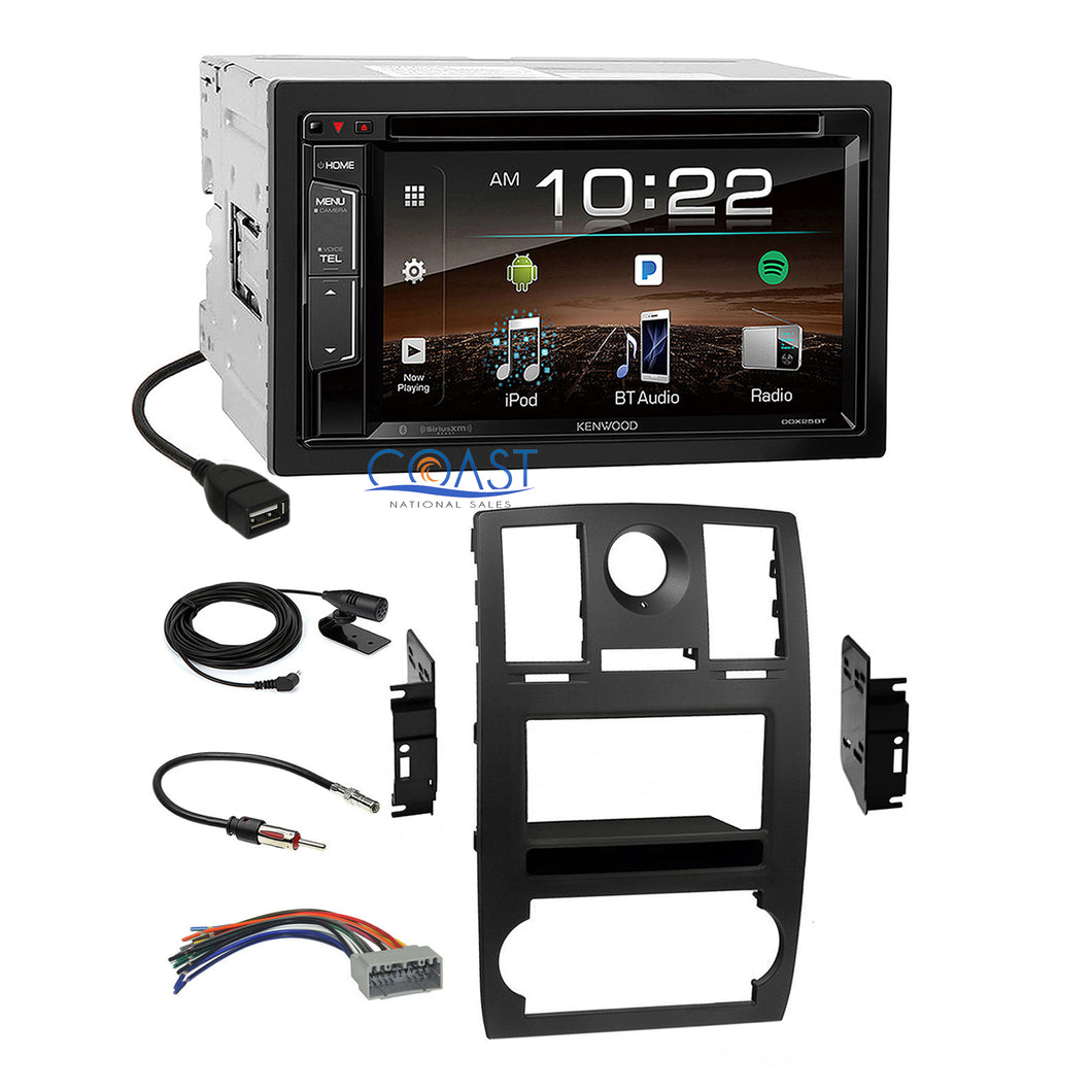Kenwood DVD SiriusXm Bluetooth 2Din Dash Kit Harness for 2005-2007 Chrysler 300