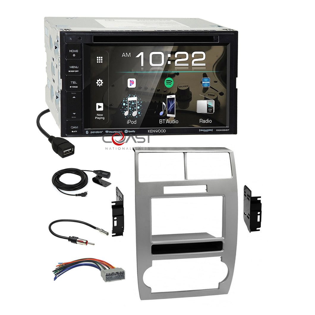 Kenwood DVD USB Sirius Stereo Dash Kit Harness for 05-07 Dodge Magnum Charger