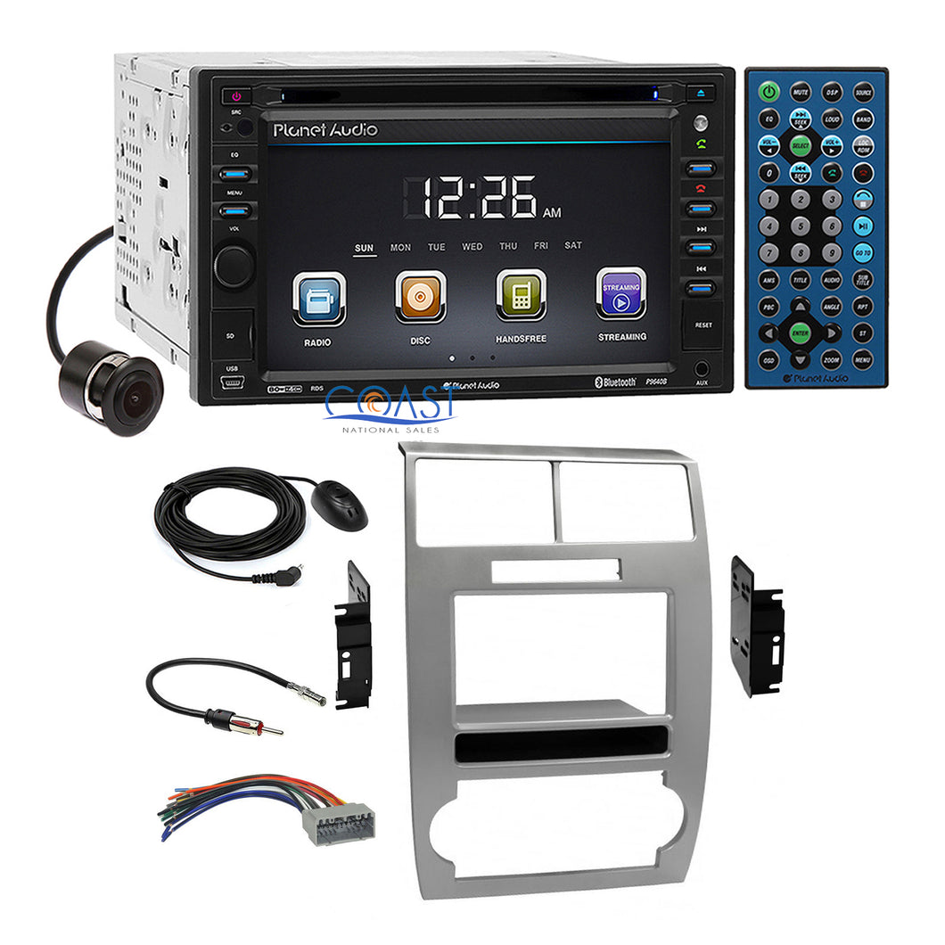 Planet Audio Bluetooth Camera Silver Dash Kit Harness for Dodge Magnum Charger