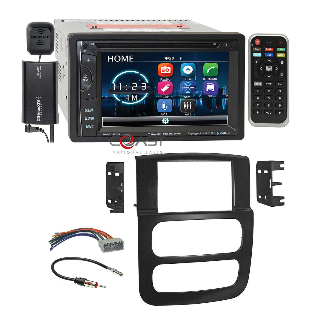 Power Acoustik DVD USB BT Sirius Stereo Dash Kit Harness for 2002-05 Dodge Ram