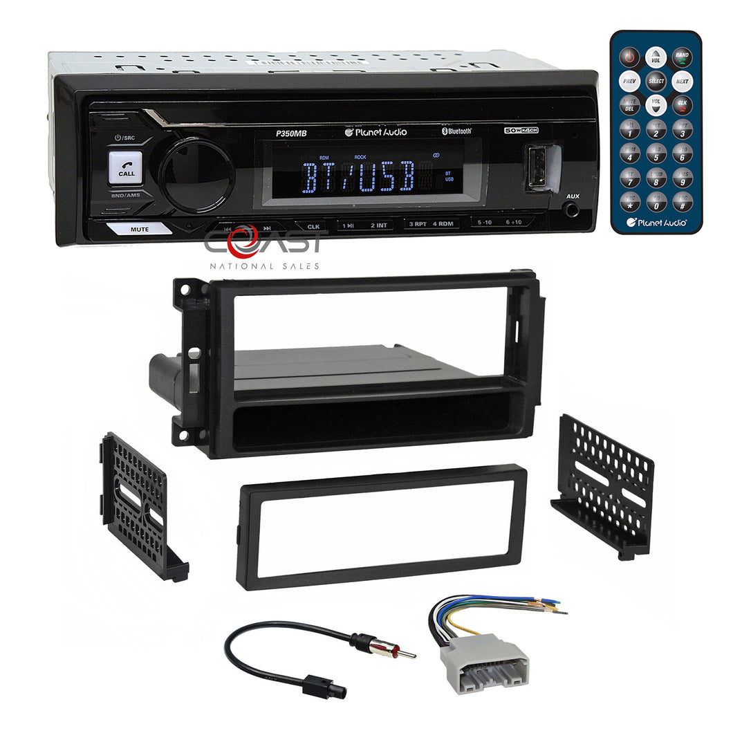 Planet Audio USB Bluetooth Stereo Dash Kit Harness for 07+ Chrysler Dodge Jeep