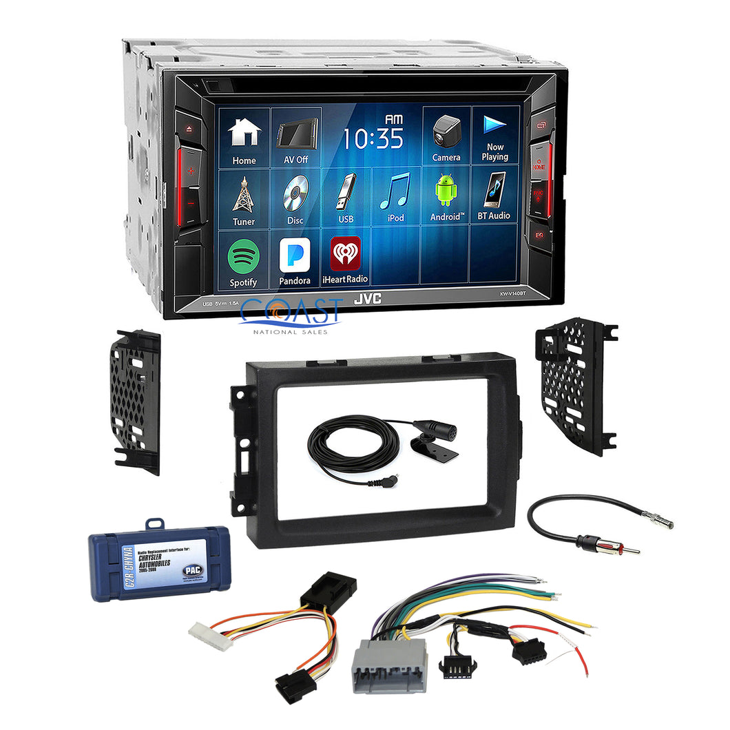 JVC 2018 Bluetooth Stereo Dash Kit Non-Amp Harness for 04+ Chrysler Dodge Jeep