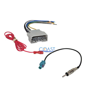 Car Stereo Wiring Harness with Antenna for Chrysler Dodge ... on radio harness adapters, chevy trailblazer stereo harness adapters, stereo wiring harness color codes, car stereo adapters, stereo wiring harness kit, car audio harness adapters,