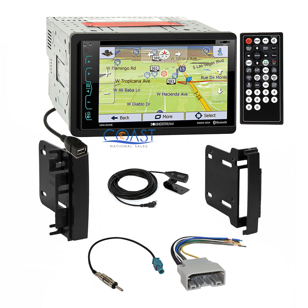 Soundstream Bluetooth GPS Stereo Dash Kit Harness for 07-14 Chrysler Dodge Jeep