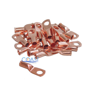 "Car Audio 8 Gauge AWG 1/4"" Copper Wire Ring Terminal Connector CUR814 - 25 pcs"