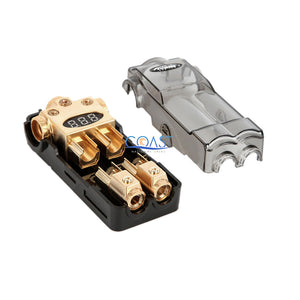 Car Digital Gold AGU Distribution Block (3) 2/4 Ga In & (2) 4/8 Out w/Adapters