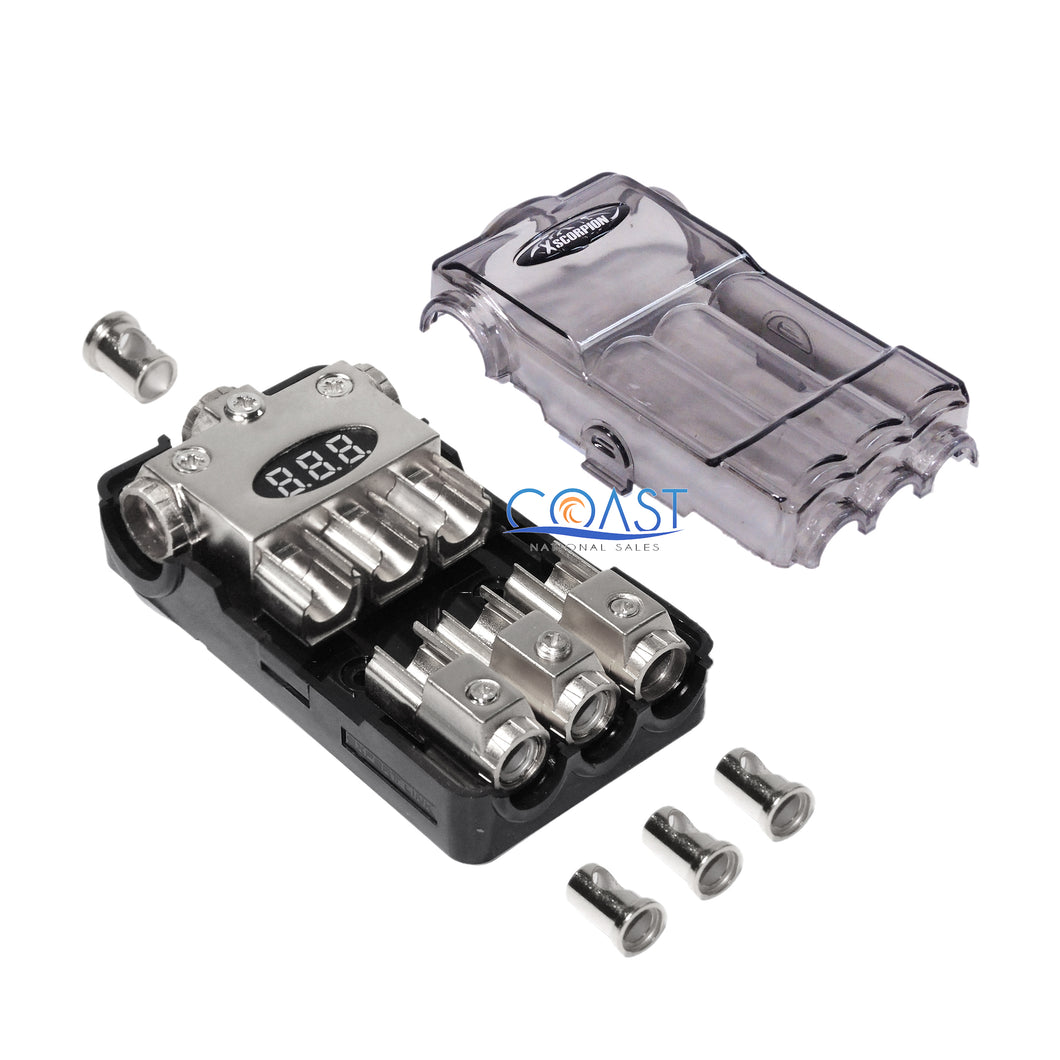 Car Stereo Platinum Distribution Block (3) 2/4 In & (3) 4/8 Ga Out w/Adapters