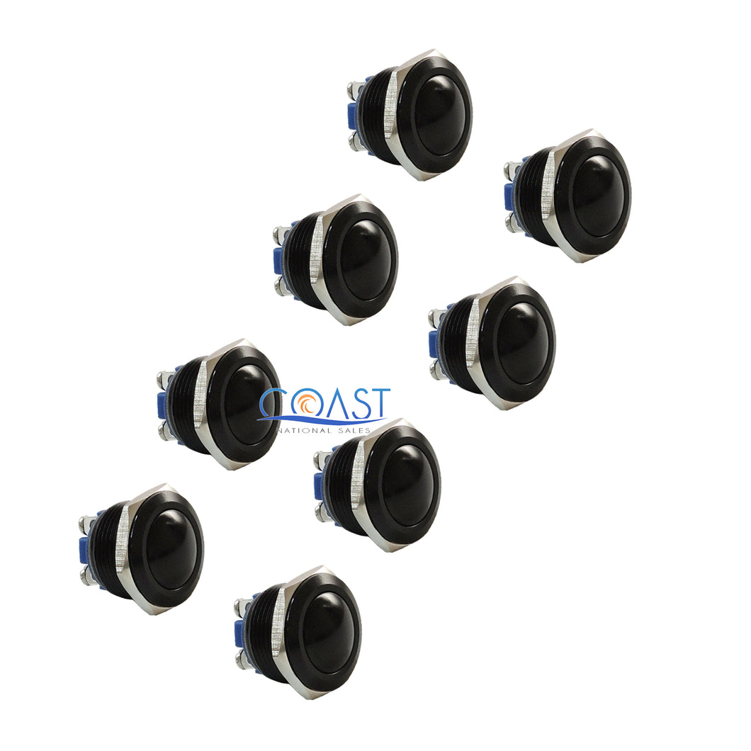 8X Durable 16mm Car Starter Horn Momentary Black Push Button Toggle Switch