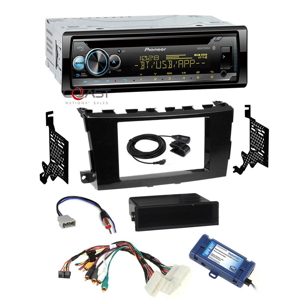 Pioneer Pandora Bluetooth Gloss Dash Kit Amp SWC Harness for 13+ Nissan Altima