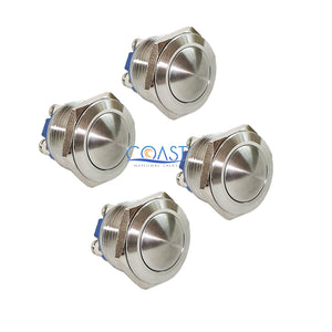 4X Durable 19mm Car Starter Horn Momentary Push Button Stainless Steel Switch
