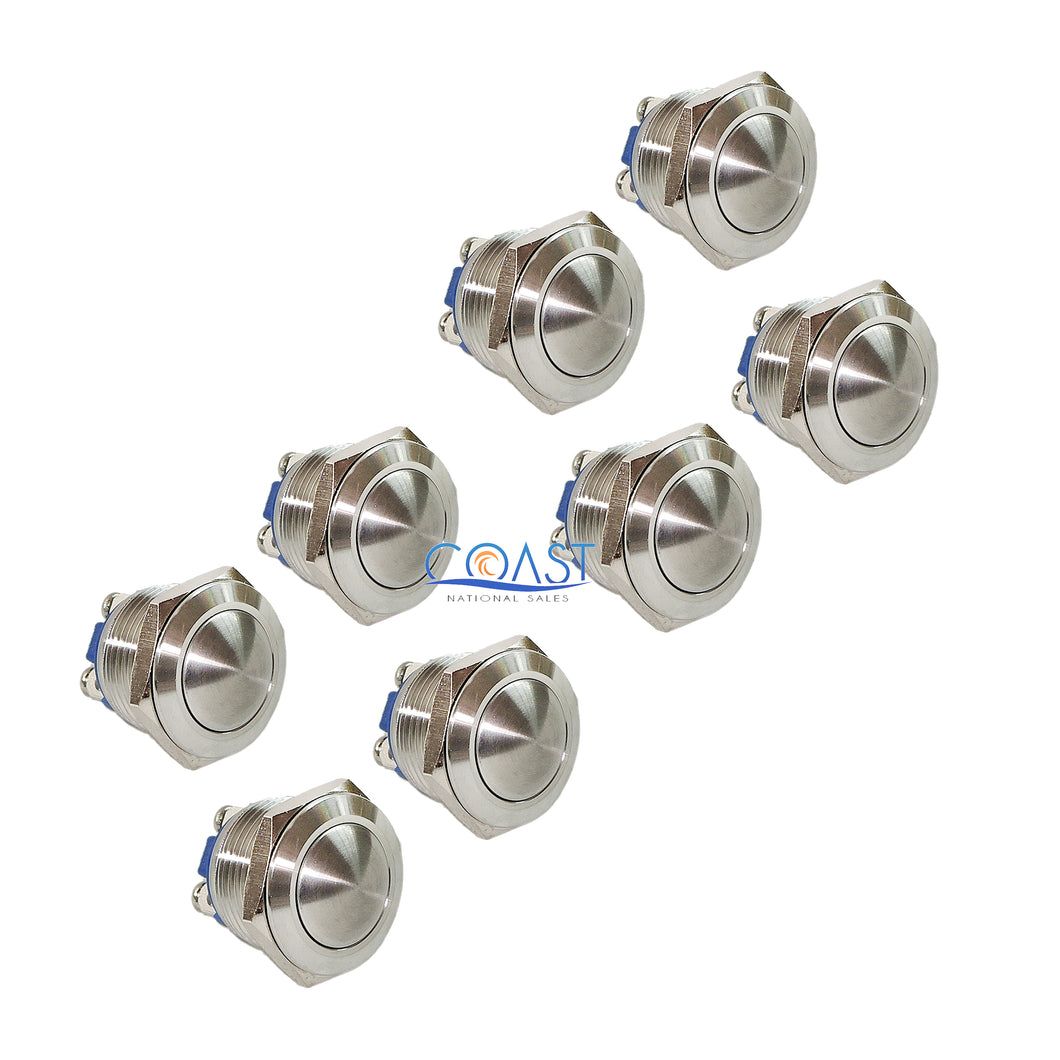 8X Durable 19mm Car Starter Horn Momentary Push Button Stainless Steel Switch