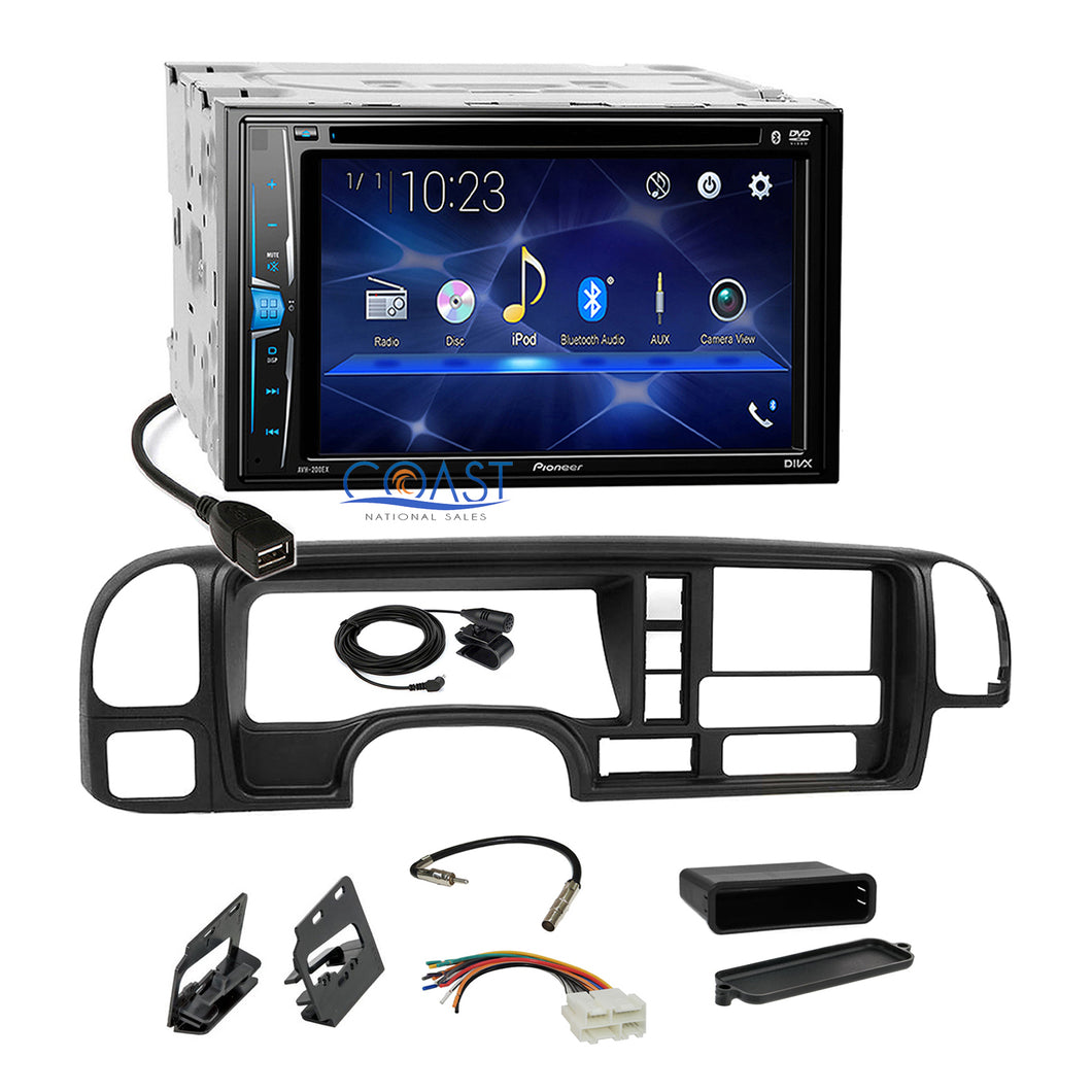 Pioneer 2018 DVD Bluetooth 2Din Stereo Dash Kit Harness for 95-02 GM Truck SUV
