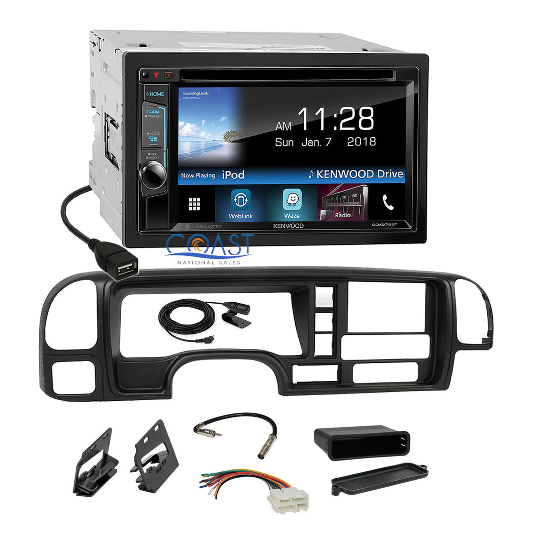 Kenwood Sirius Waze Bluetooth Stereo Dash Kit Harness for 1995-02 GM Truck SUV